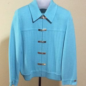 St John Collection Aqua Blue Santana Knit